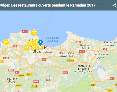 #Alger. La carte des restaurants ouverts pendant le Ramadan 2017