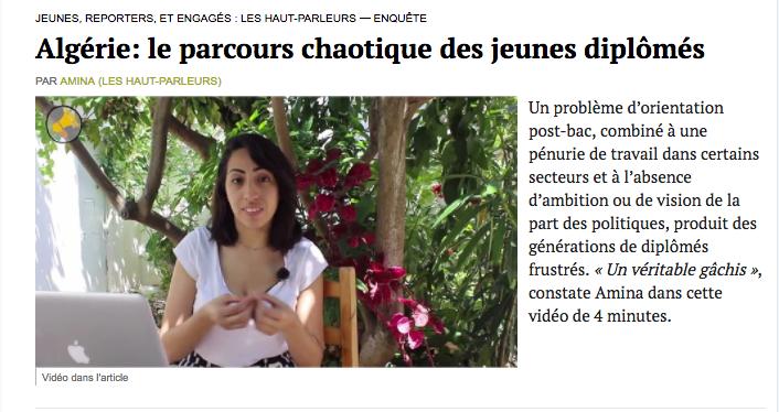 Mediapart raconte la frustration des jeunes diplômés algériens